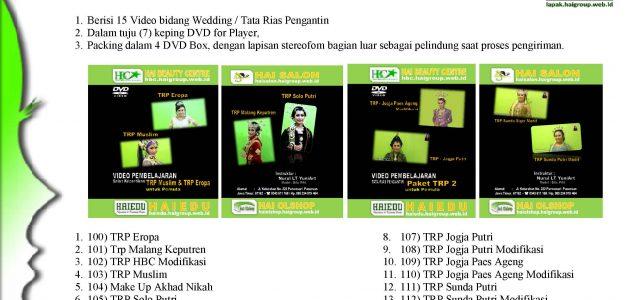 "PAKET V ""WEDDING"" : Rp 700.000 Berisi 15 Video bidang Wedding / Tata Rias Pengantin Dalam tuju (7) keping DVD for Player, Packing dalam 4 DVD Box, dengan lapisan stereofom […]"